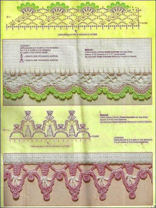 Todo crochet: 10 patrones de puntillas decorativas | barrados lindos ...