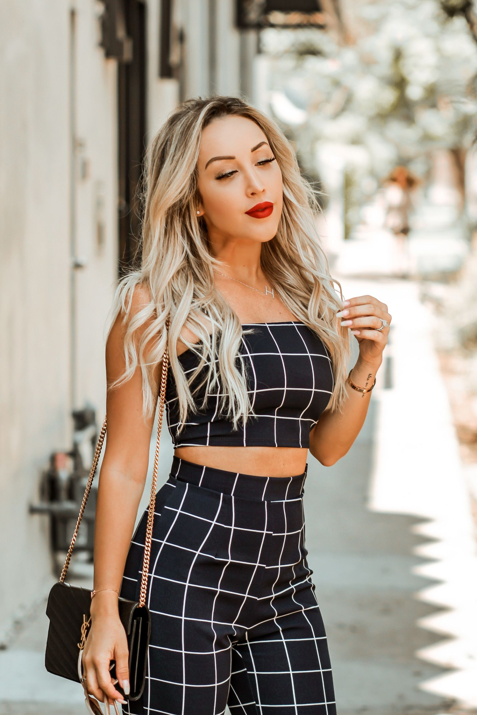 6d5178500c3b Navy Blue Two Piece Pant Set | Fashion Nova | Nude Louboutins | YSL Bag |  Fashion Blogger Inspo | Blondie in the City by Hayley Larue