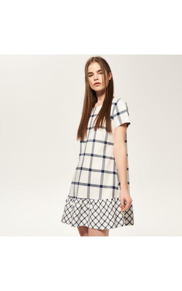 Kárované šaty s volánom v dolnej časti, Šaty, viacfarebn, RESERVED