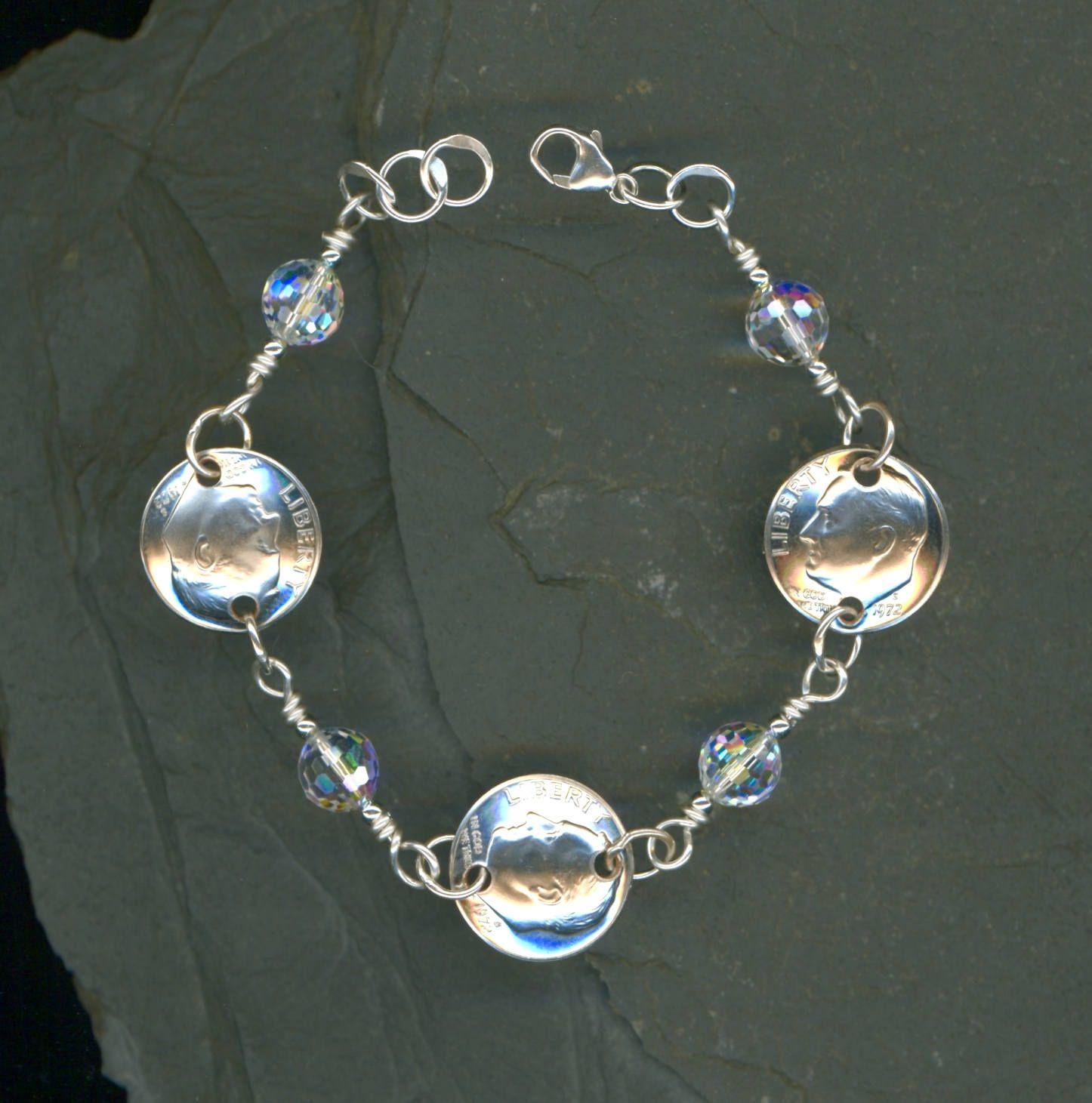45th birthday silver gift women 1972 dime crystal bracelet