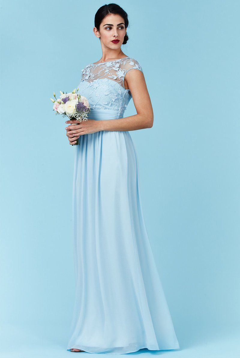 Goddiva blue chiffon flower detail bridesmaid dress yesss