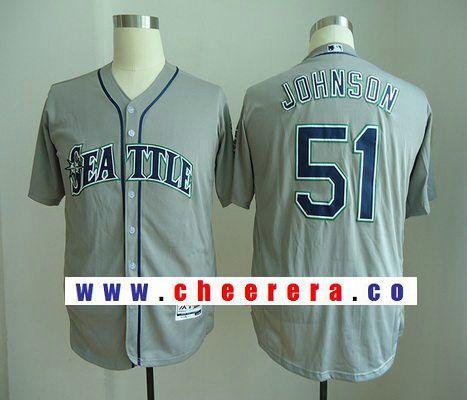 Men's Seattle Mariners #51 Randy Johnson Retired Gray Road Stitched MLB Majestic Flex Base Jersey