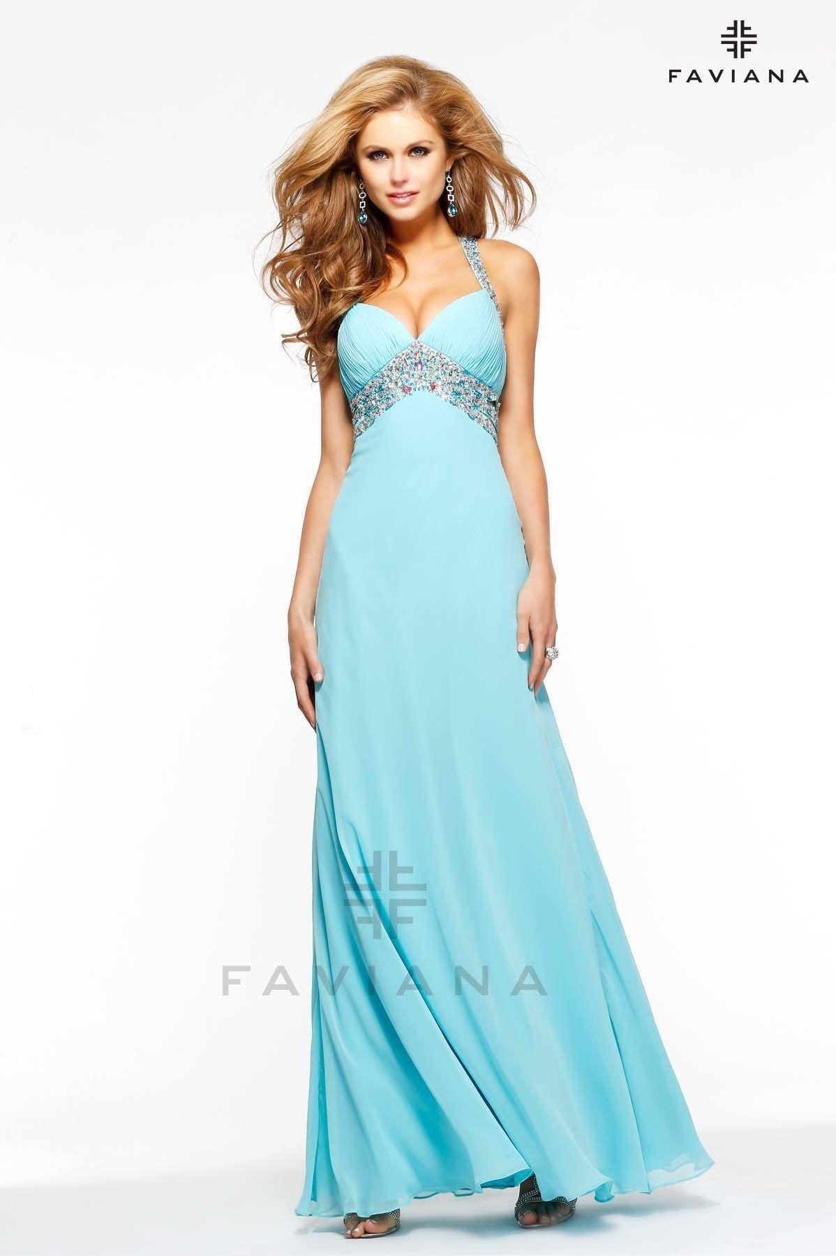 Faviana Beaded Chiffon with side cut outs - Party Dresses | Faviana ...