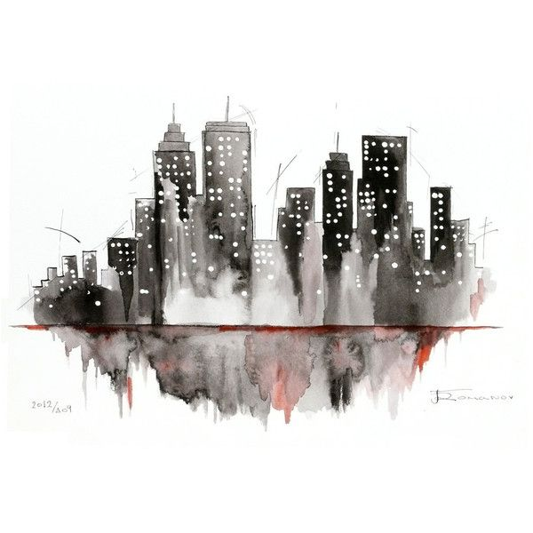 Watercolor New York: Black And Wite NY City Painting, New York Watercolor Ink