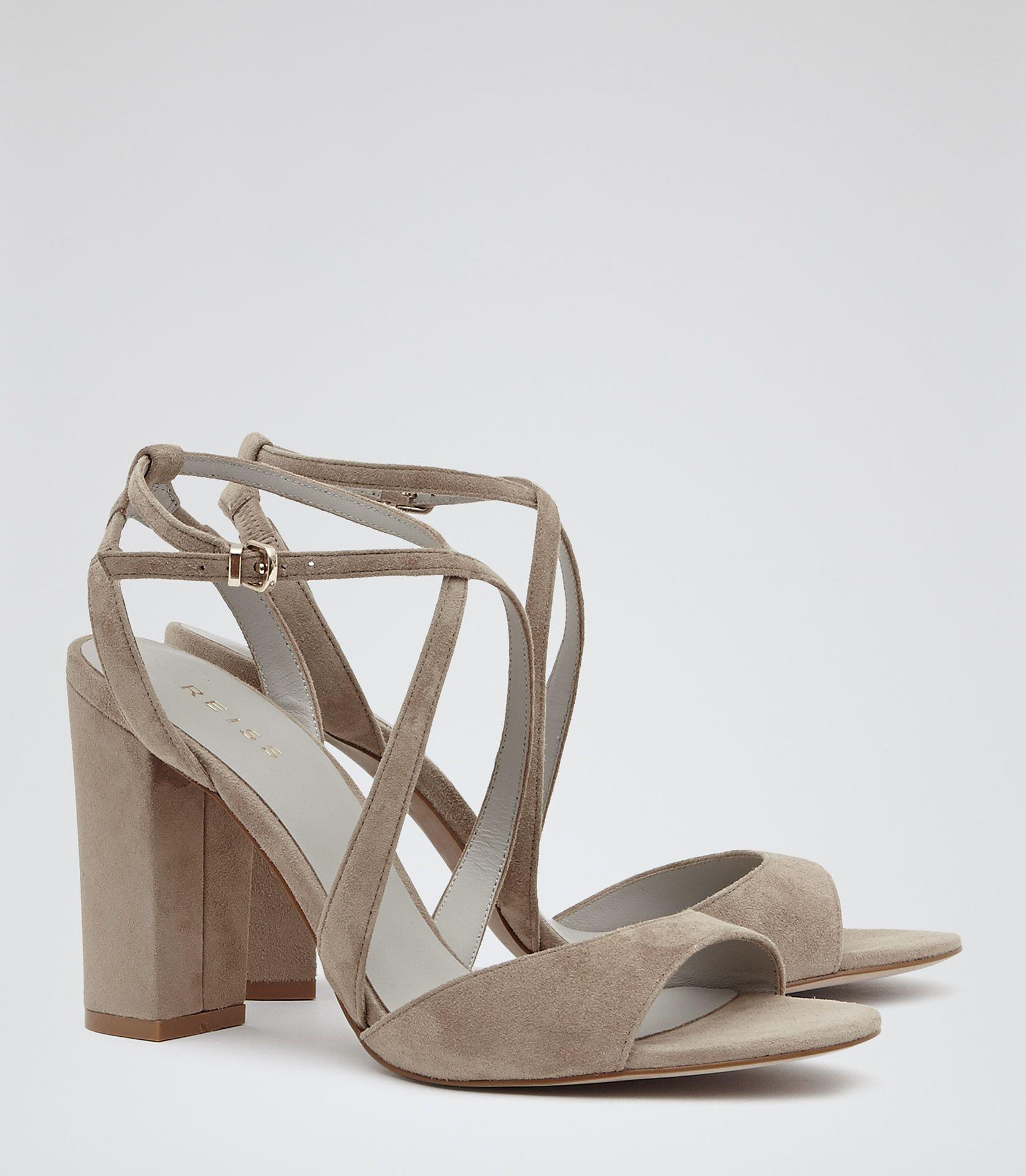 14a5e89e417 Womens Nude Suede Block-heel Sandals - Reiss Jackson