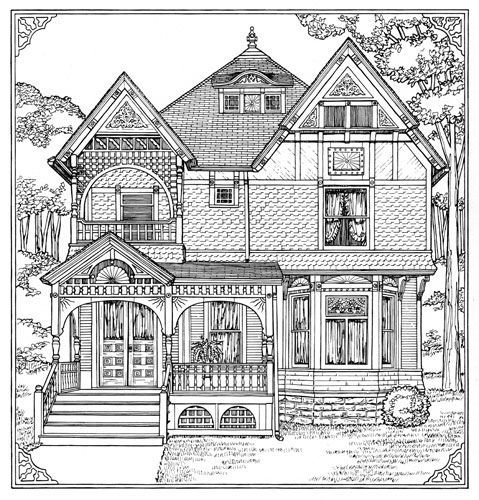 Printable Tree House Plans: Victorian House Coloring Page