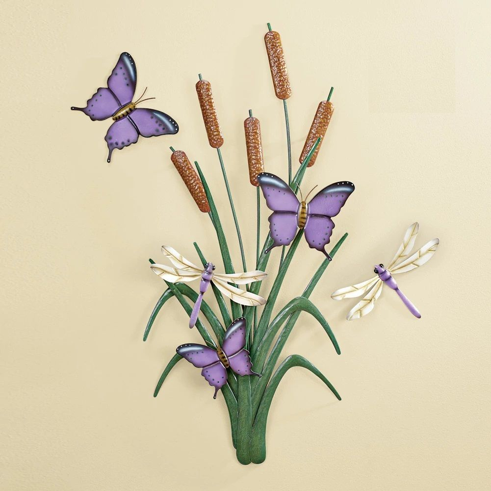 Wall sculptures purple butterfly dragonfly cattail flower