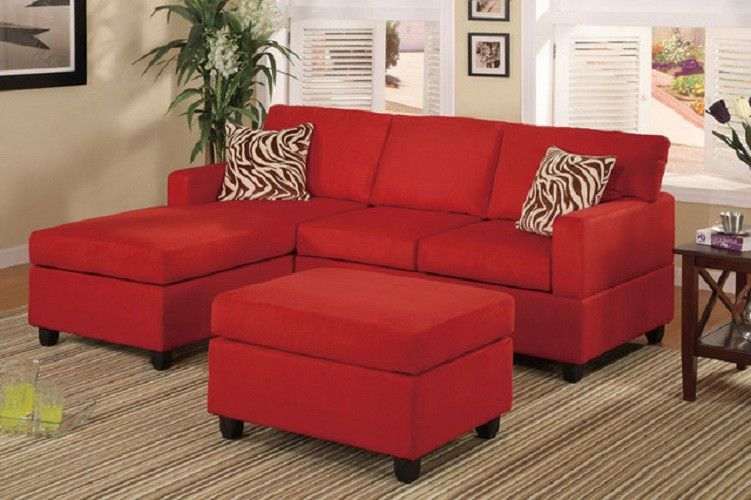 Microfiber Reversible Chaise Sectional Sofa Red Living Room ...