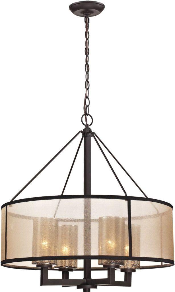 Modern Glass Chandelier 422 00 Drum Shade Four Lights Top Bronze