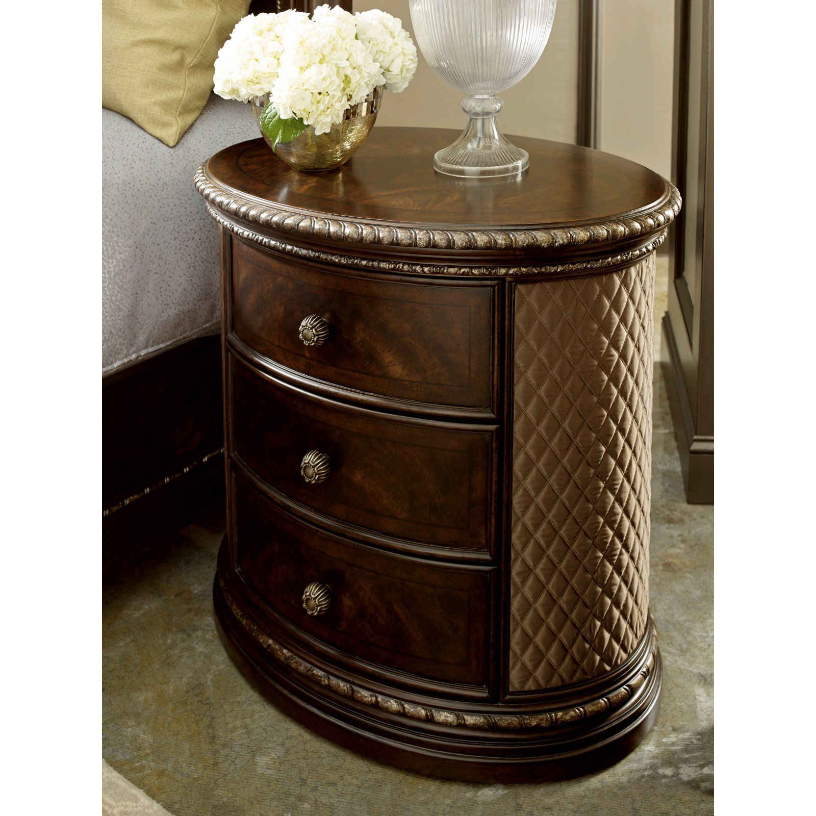 A R T Furniture Gables Oval Upholstered Sided 3 Drawer Nightstand