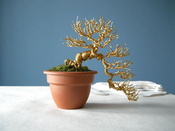 wire bonsai tree wire sculpture gold semi cascade bonsai bonsai rh pinterest com
