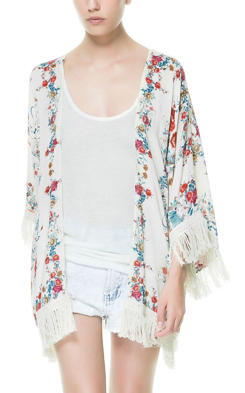 Popular Zara Floral Print Fringes Kimono Cardigan Jacket Blazer ...
