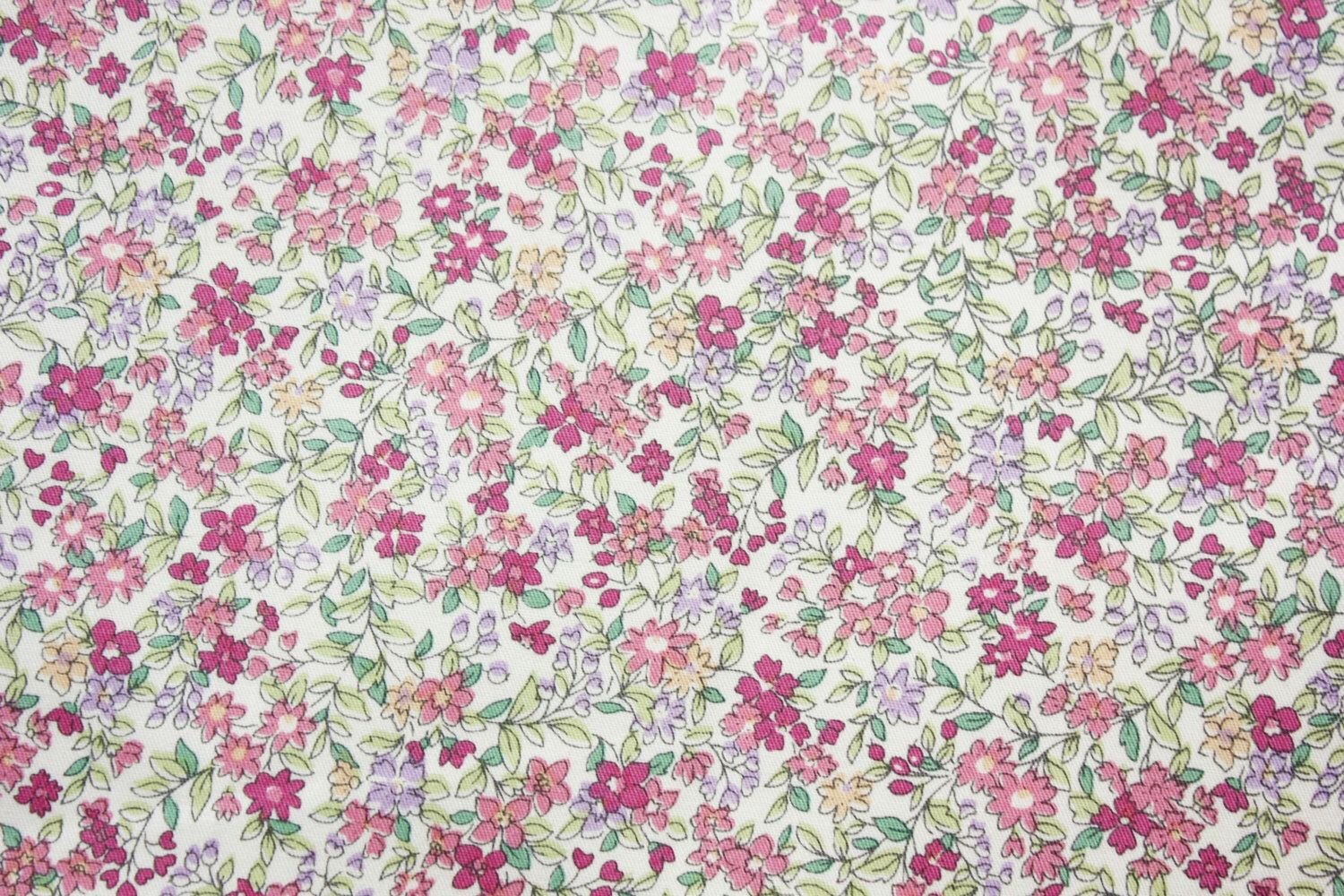 Little Flowers Fabric Japanese Floral Fabric Floral Fabric Cotton Pink Lavender Dressmaking Crafting Quilting Half Floral Fabric Little Flowers Fabric