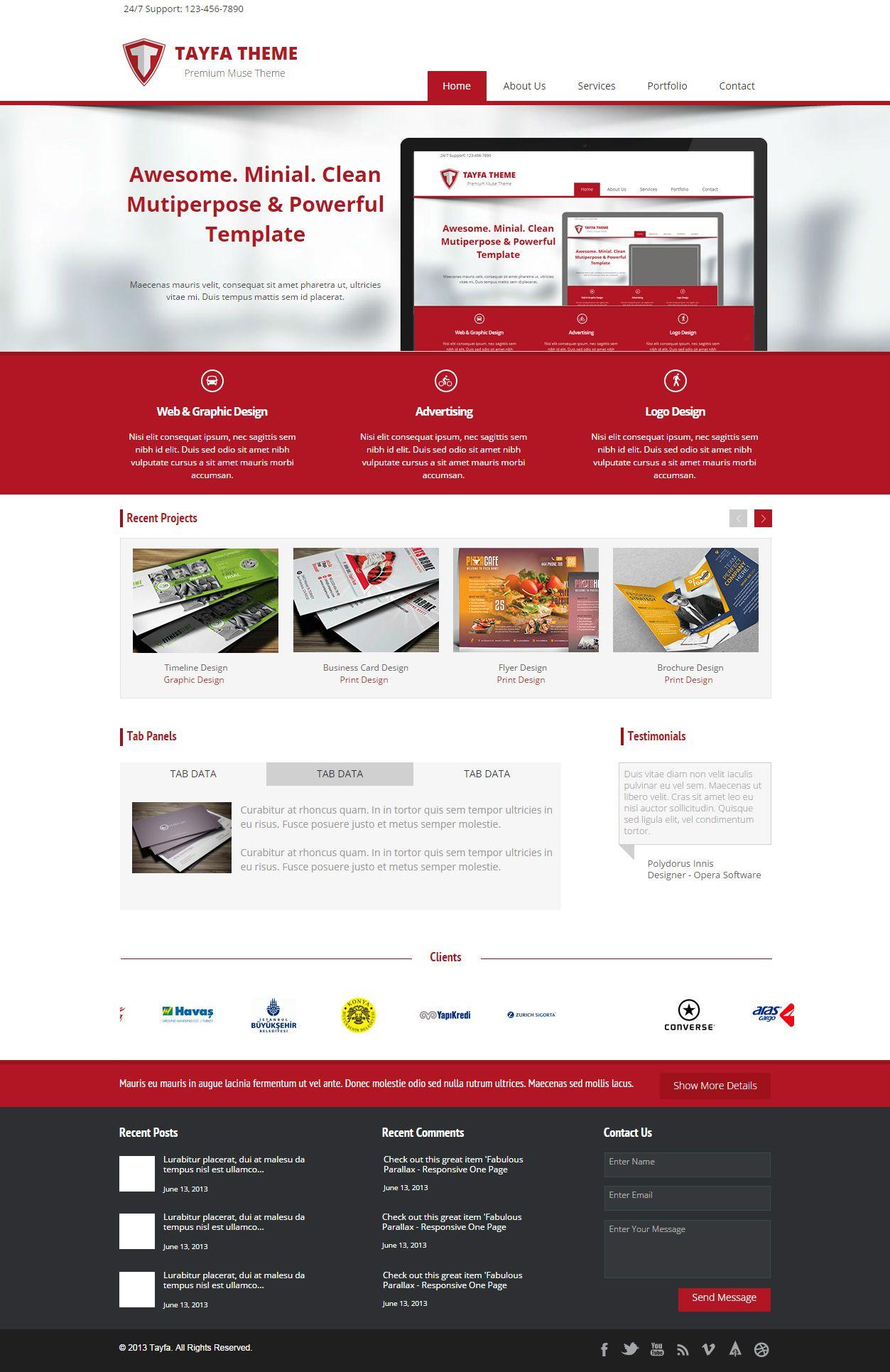 Tayfa Premium Multipurpose Muse Template Pinterest