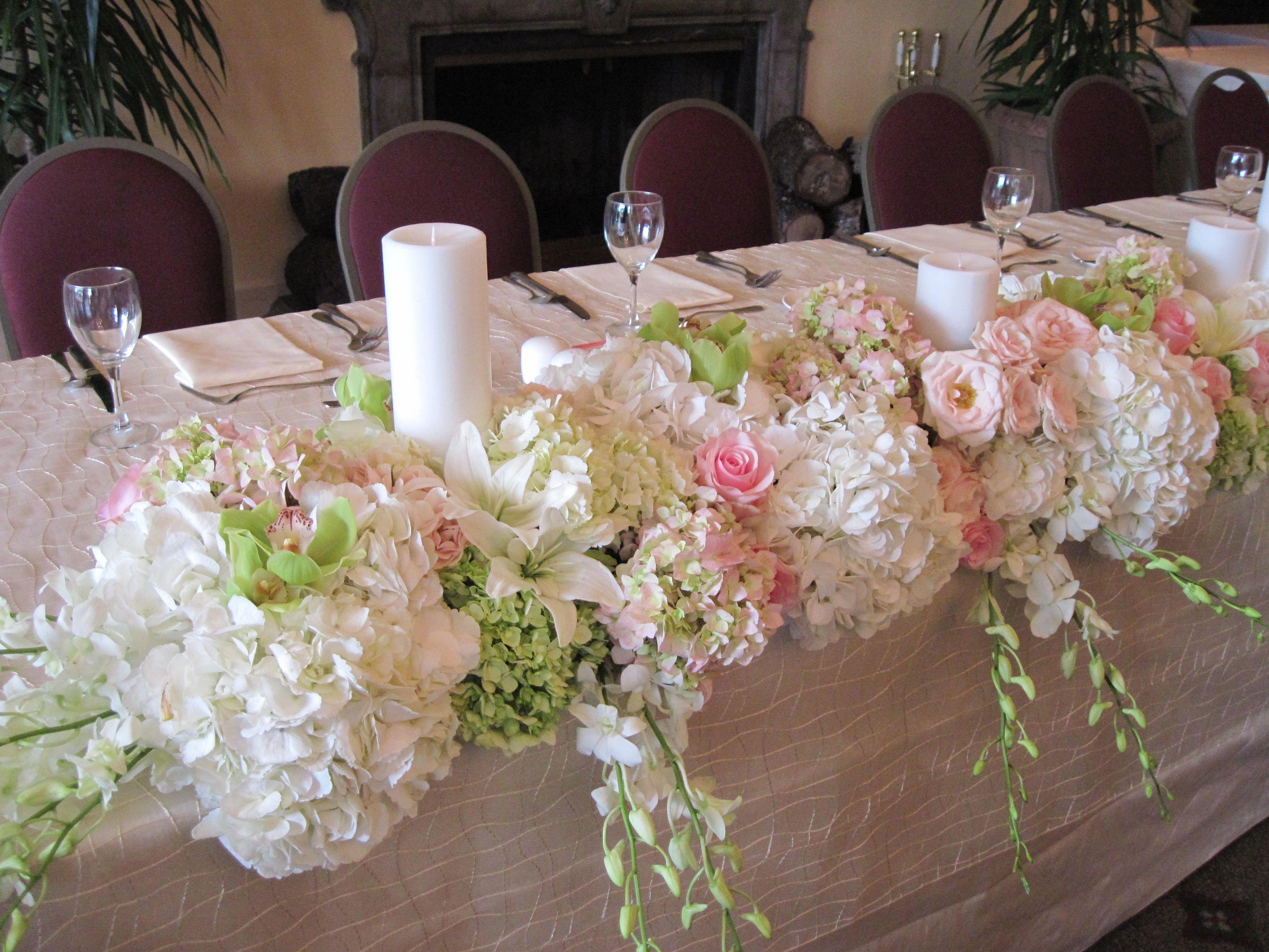 Rehearsal dinner at sonterra country club hydrangea