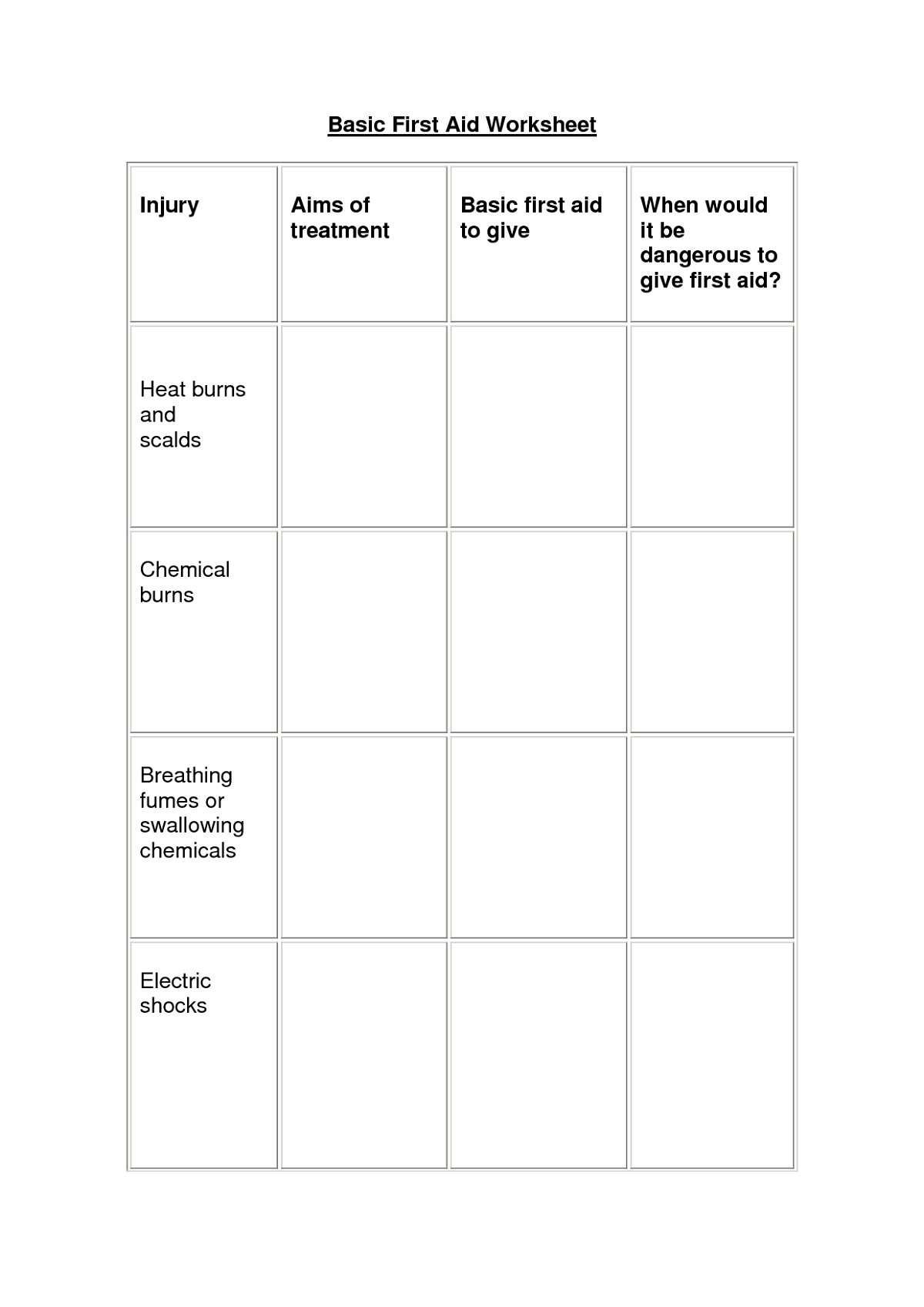 Student Worksheets To Print Worksheets First Aid For Kids Student [ 1697 x 1200 Pixel ]