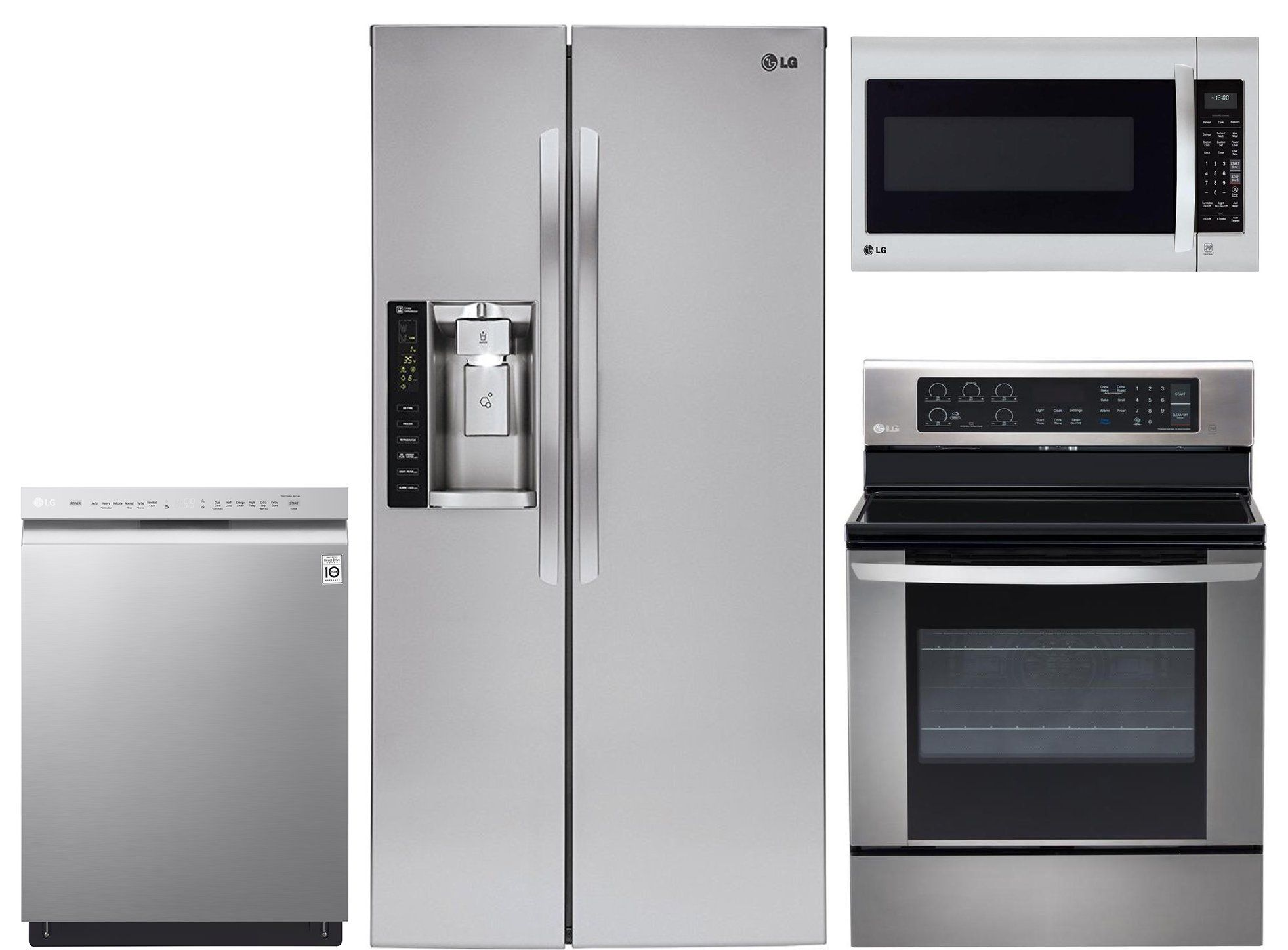 Lg 4 Piece Electric Kitchen Appliance Package With 26 2 Cu Ft Refrigerator Stainless Steel In 2020 Kitchen Appliance Packages Kitchen Appliances Appliance Packages