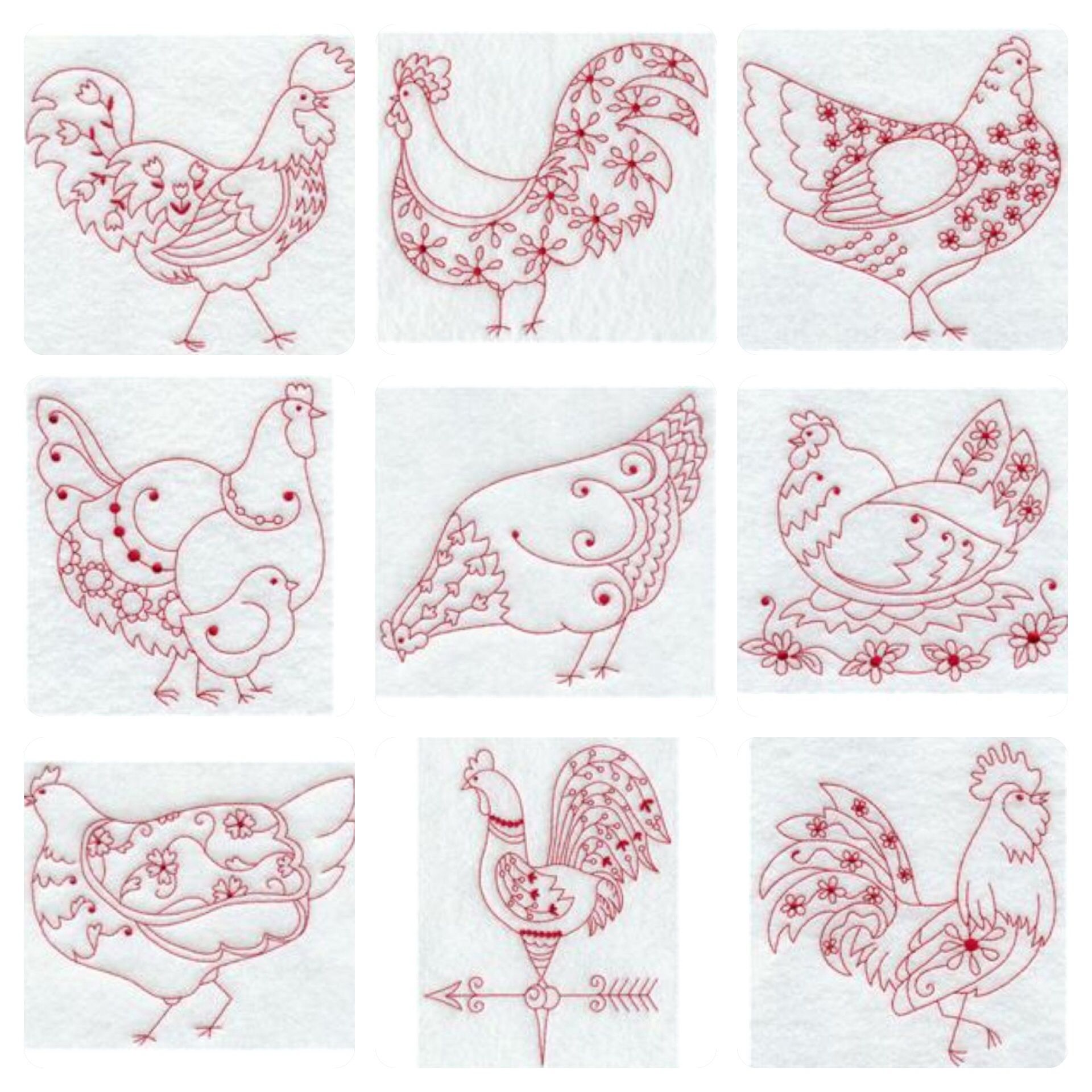 Hen so cute zentangle pinterest hens red work embroidery and