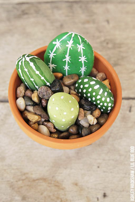 Painted Rock Cactus Plants is part of garden Crafts Rocks - Make these easy DIY Painted Rock Cactus Plants  A kid friendly and adult friendly garden craft with hand painted rocks  Plants that require no maintenance!