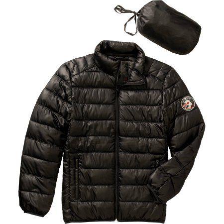 Big Men's Packable Faux Down Jacket, Size: 2XL, Black