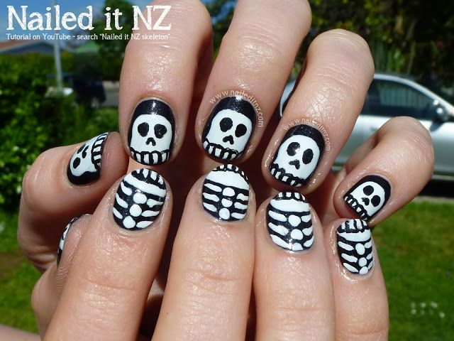 Halloween Skeletons - Nail Art Tutorial | Nails, Nail art ...