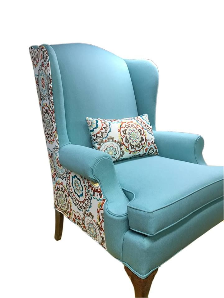 Custom Wing Back Chair Covered In Breena Teal 44 90 Yd