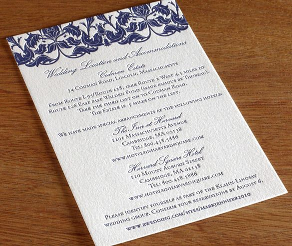 Direction Card Wording For Your Wedding Invitation Suite