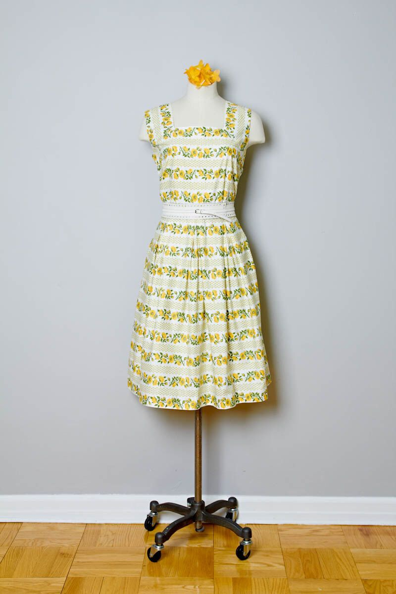 Wedding dresses for 50 year olds  Vintage Dress us Yellow striped floral cotton square neck by