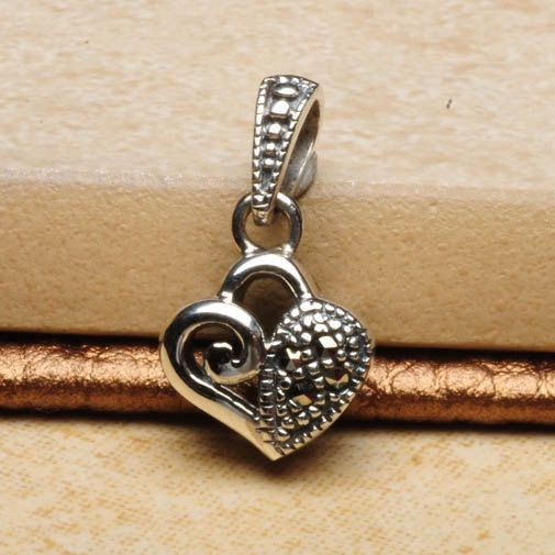 Dainty Sterling Silver Marcasite Heart Pendant by scentsgemsnmore