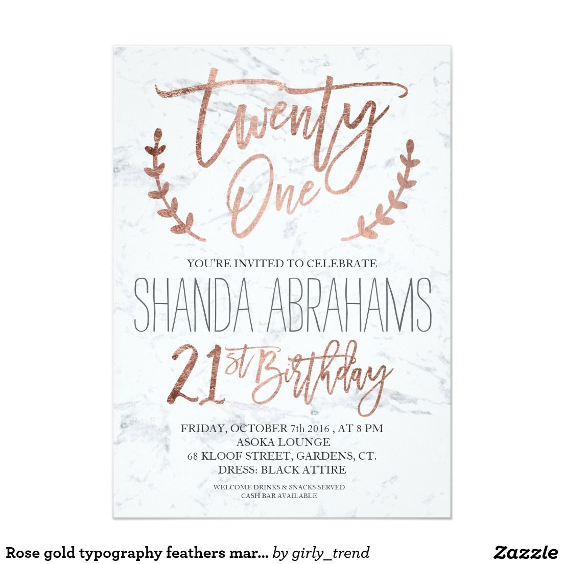 Rose gold typography feathers marble 21st Birthday Card | Motivation ...