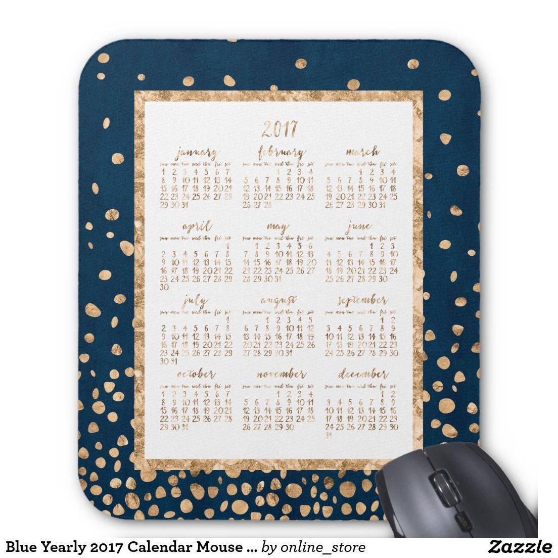 Blue Yearly  Calendar Mouse Pads Gold Confetti  Gold Confetti