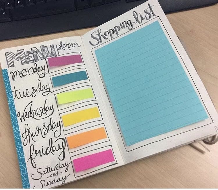 Menu and grocery list bullet journal layout