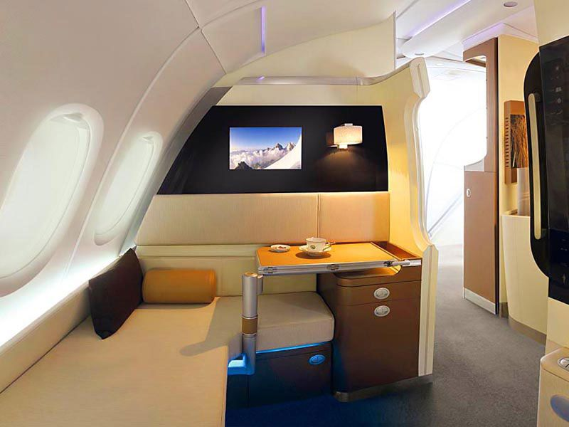 2 A380 lounge wider cabins suite