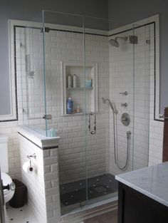 Bathroom Knee Wall subway tile knee wall next to toilet - google search | bathroom