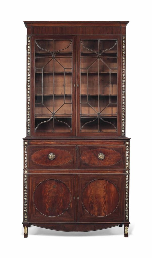 A George Iii Foliate Painted And Boxwood Strung Mahogany Secretaire Bookcase Circa 1790