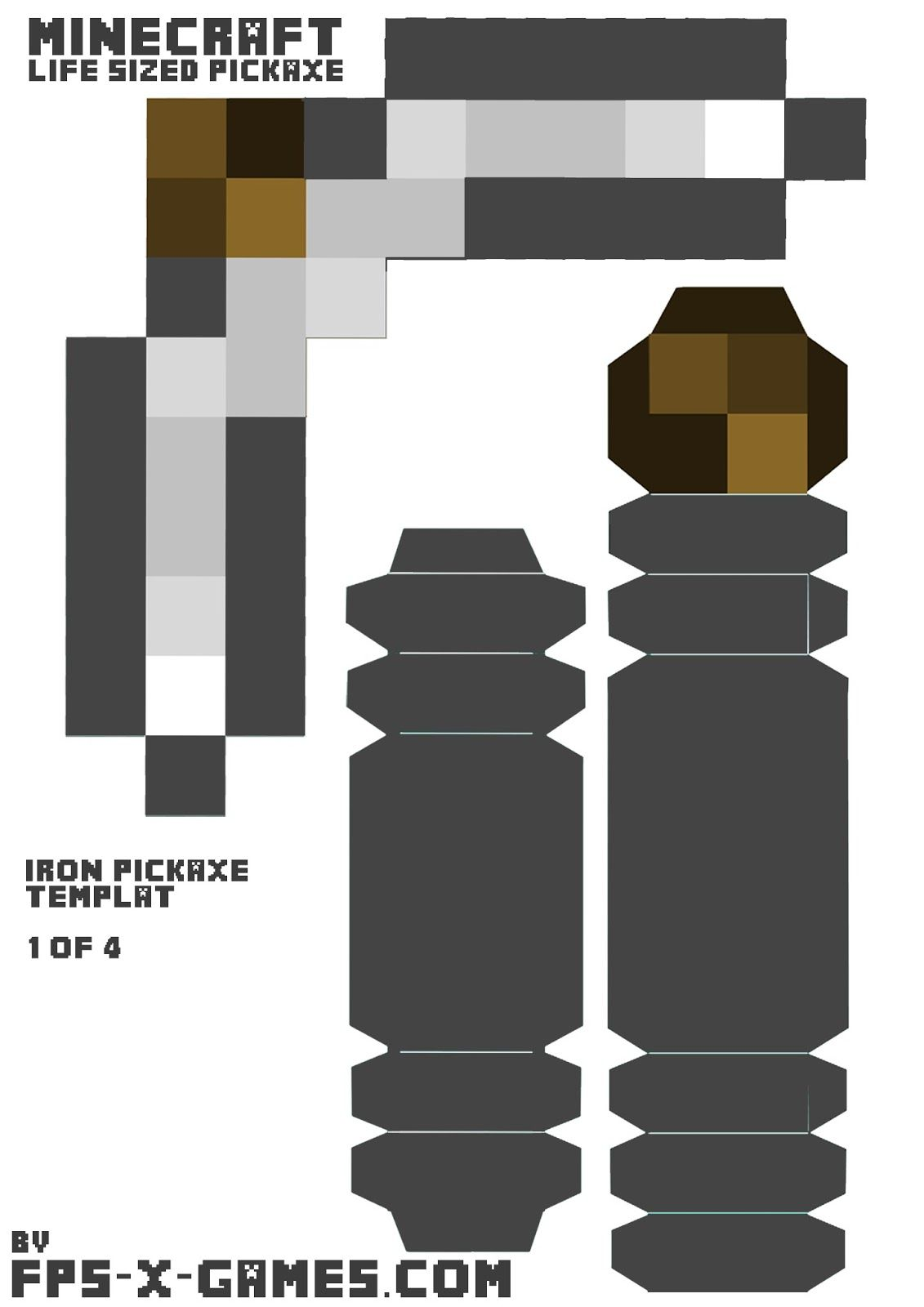 minecraft iron pickaxe printable papercraft template cut out 1 4