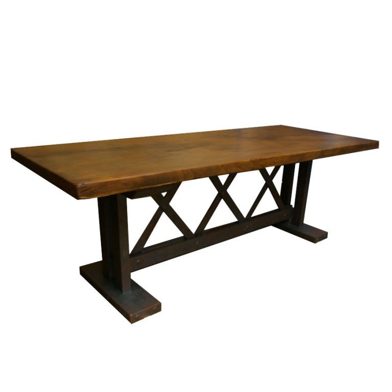 Wooden Trestle Table France 20th Century 20th Century Dining Table With One Slab Of Wood For Table To Wooden Trestle Table Trestle Table Wood Slab