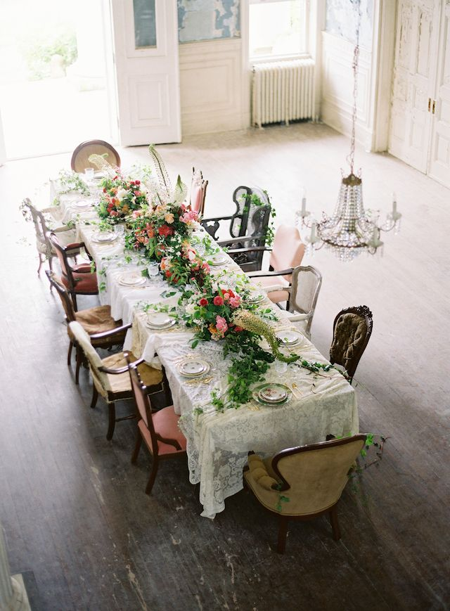 Wildly romantic tablescape | Anne Robert Photography | see more on: http://burnettsboards.com/2014/03/dreamy-abandoned-mansion-inspiration-shoot/
