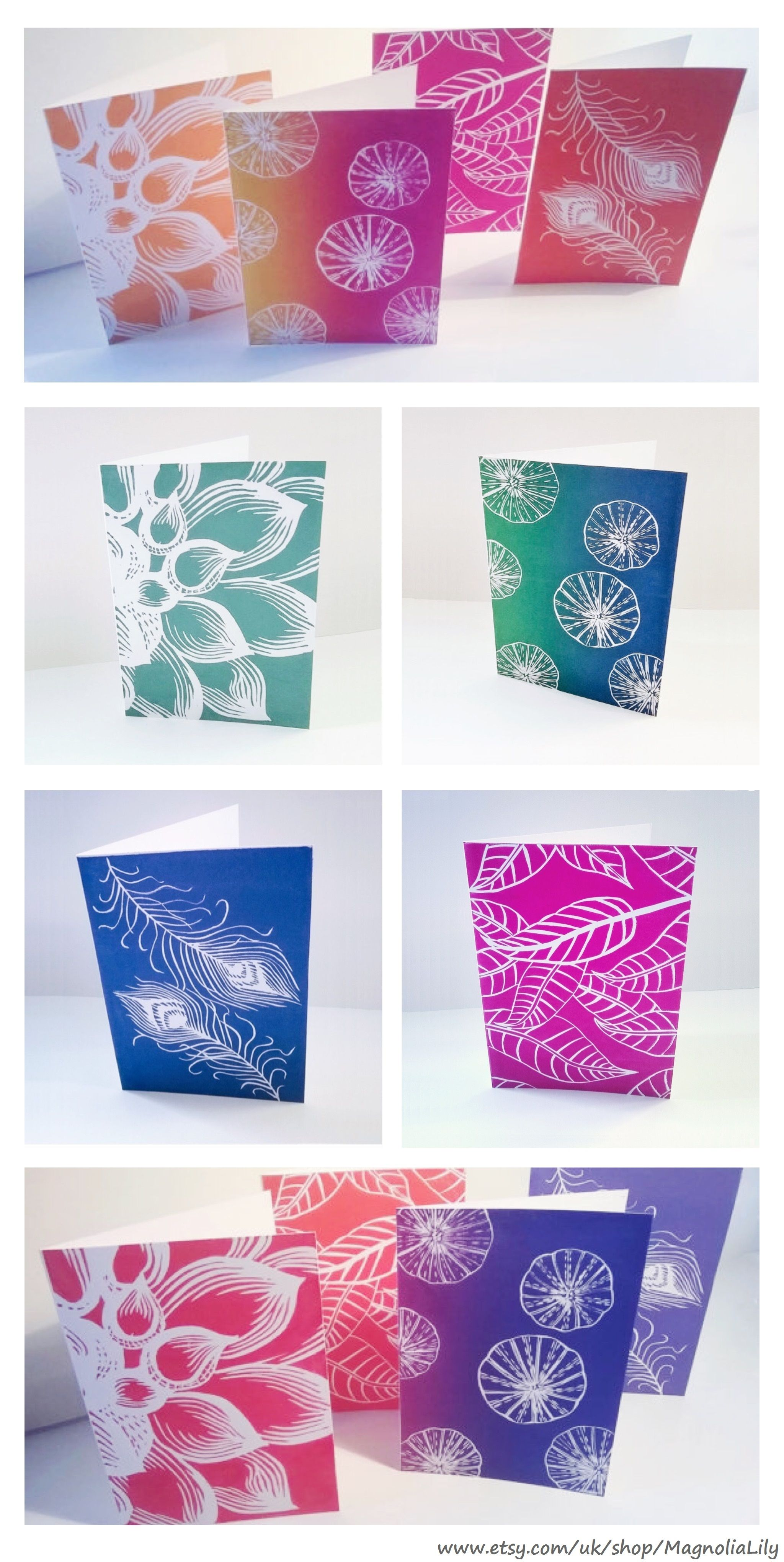 Linocut print cards by Magnolia Lily on Etsy.