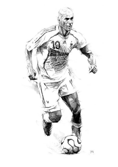 15 Cool Illustrations of Famous Football Players: Zidane