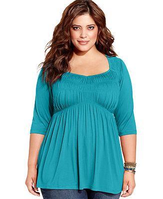 american rag plus size three-quarter-sleeve babydoll top - tops
