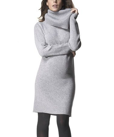 9b9012f3eac Heather Gray Wool Maternity Cowl Neck Sweater Dress by Isabella Oliver on   zulily