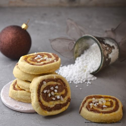 Vanille-Kakao-Spiralen mit Hagelzucker