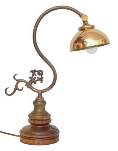 Tolles-Einzelstueck-Jugendstil-Landhaus-Schreibtischleuchte-Tischlampe-Messing  EUR 189,00
