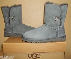 UGG Australia Bailey Button Bling Swarovski Crystals Womens Grey Boots New US 8