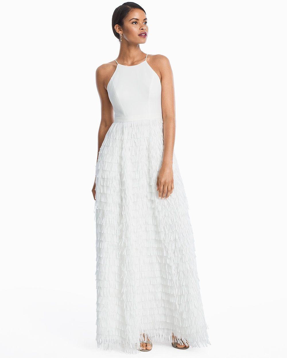 Women\'s Aidan Mattox White Halter Fringe Skirt Gown by WHBM | Fringe ...