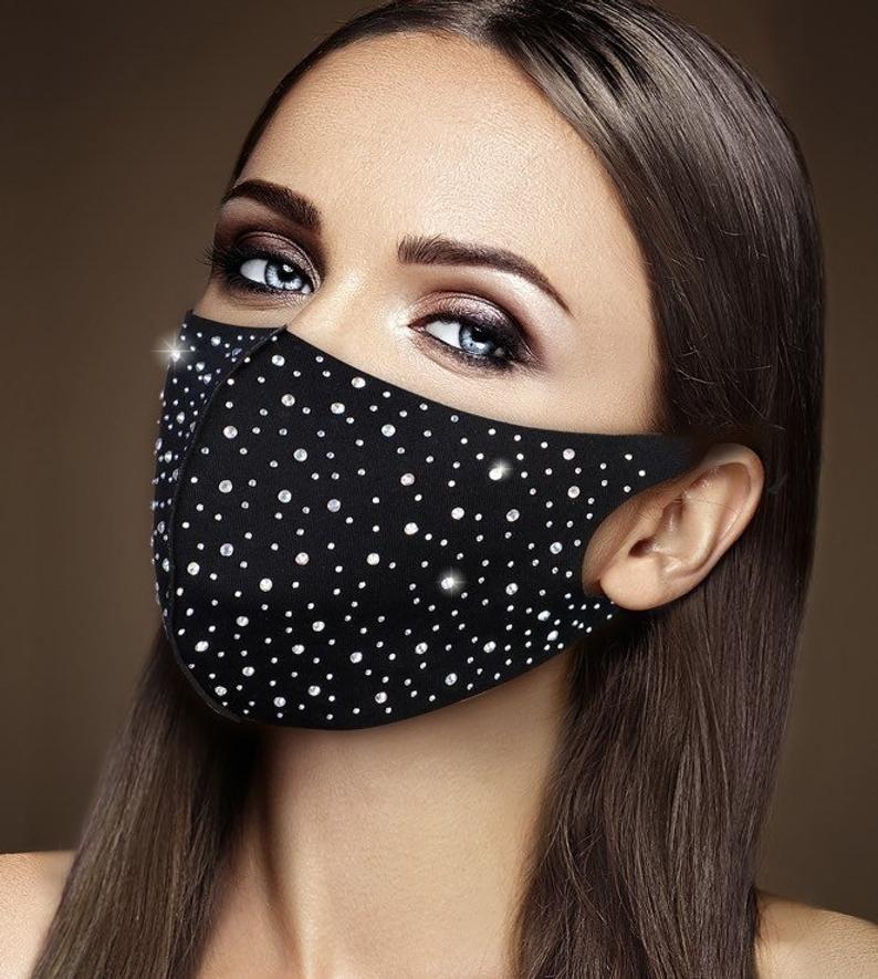 fashion mask Rhinestoned beaded face mask bejeweled