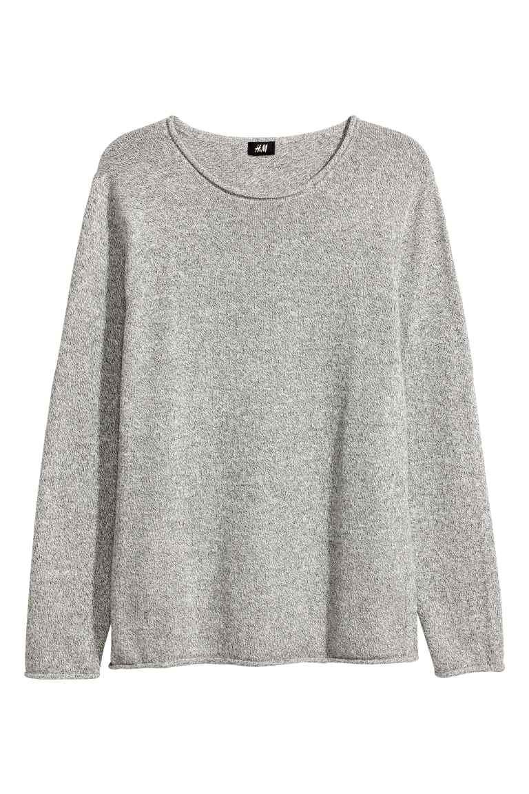 d4536e0464c Jemně pletený bavlněný svetr - Světle šedý melír - MUŽI