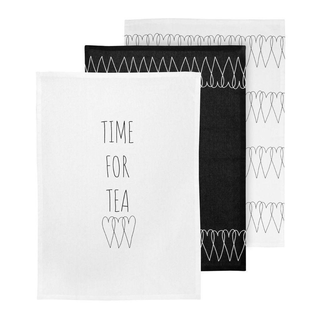 Heartlines Tea Towels, 100% Cotton, Set of 3