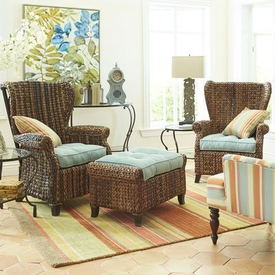 Graciosa Mocha Brown Wicker Wing Chair